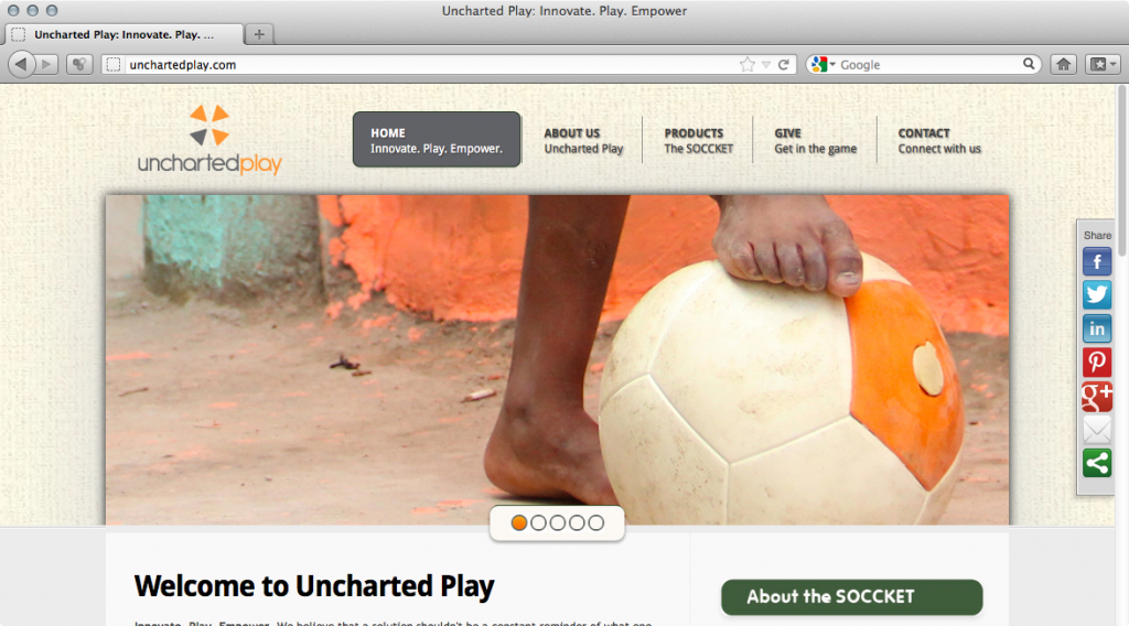 """Rund um das Produkt """"SOCCKET"""" wurde jetzt die Hilfsorganisation """"Uncharted Play"""" gegründet."""
