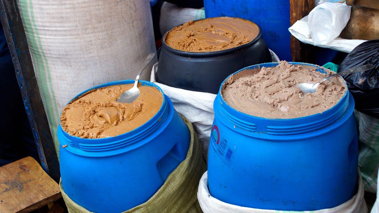 Erdnusspaste auf dem Markt