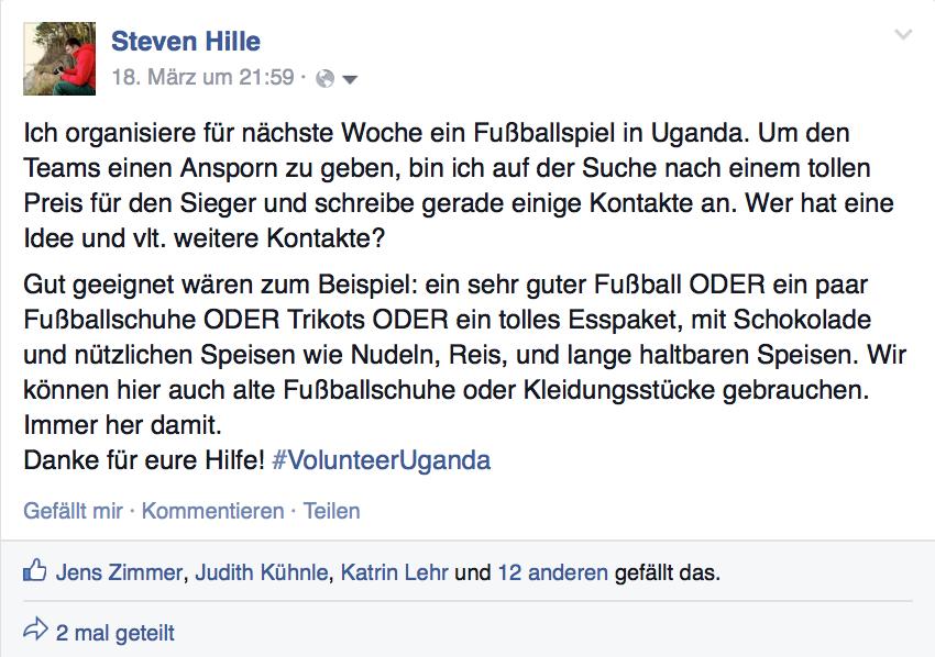 Aufruf für Spenden für ein Fußballspiel in Uganda