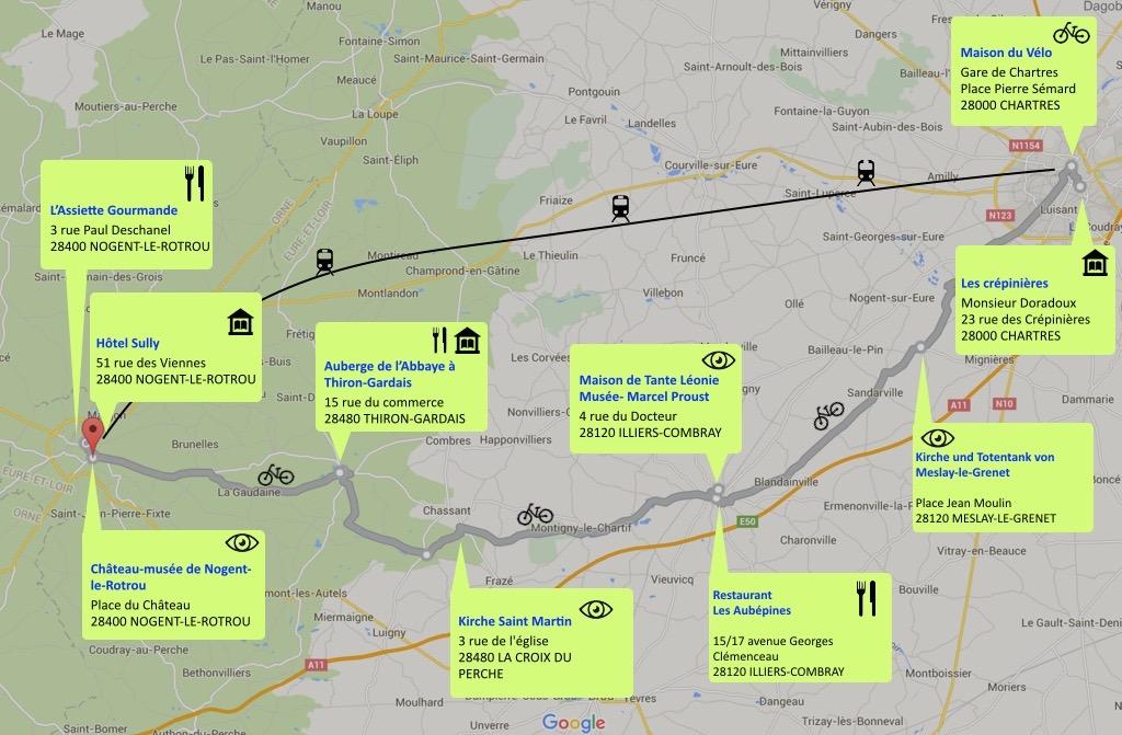 Karte für Radtour durch Eure et Loir.