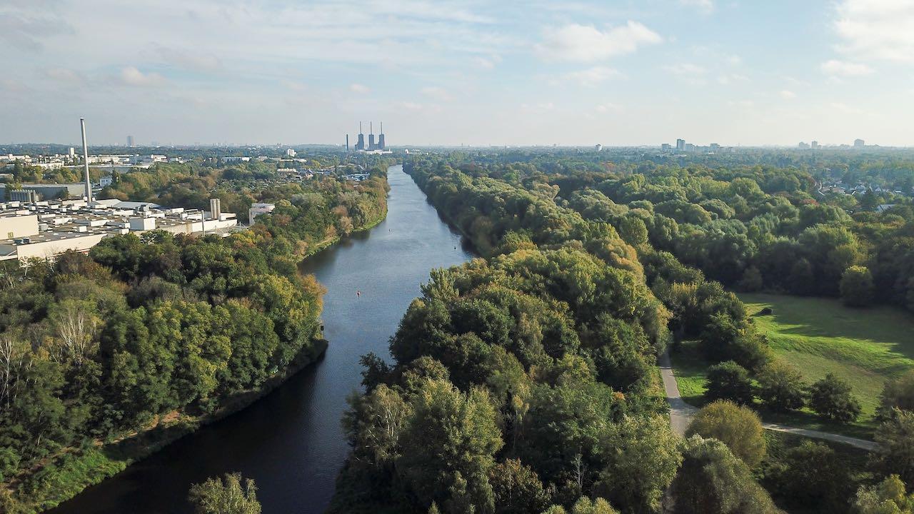 Teltowkanal mit Blick nach Osten in Richtung Berlin
